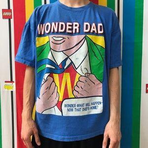 VTG Wonder Dad Superhero Father T shirt Men's XL